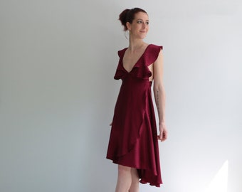 Burgundy Silk Petal Dress