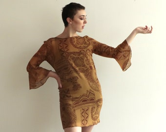 Ochre Cotton-Silk Dress