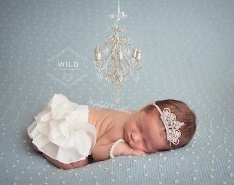 Baby chandelier etsy silver chandelier mini chandelier tiara headband and bracelet baby tiara headband crown headband pearl baby bracelet aloadofball Images