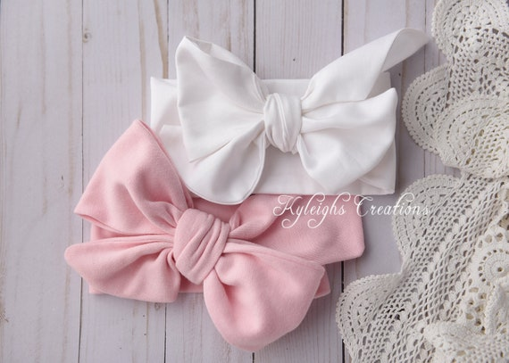 Set Of Two Baby Head Wrap Bows Pink Baby Bow White Bow Etsy