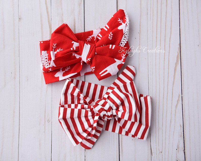 baby christmas outfit christmas head wrap Set of two christmas headbands christmas baby headbands