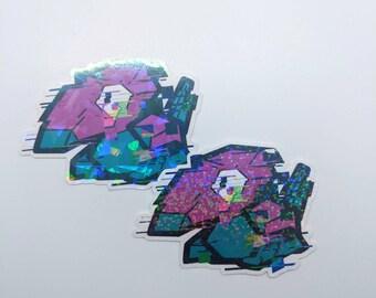Glitch monster holographic sticker