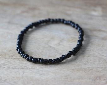 Men's Beaded Bracelet Small Black Beads