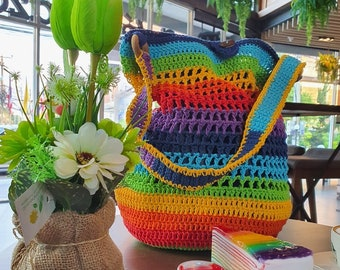 Rainbow Ties Crochet Pouch