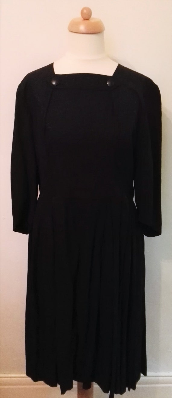 1940's Vintage Black Rayon Dress