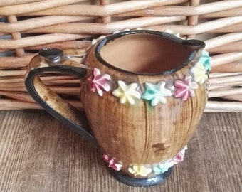 Small Brown Italian Jug with Colourful Flowers 1950's Vintage