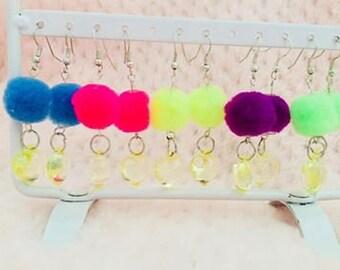 Kawaii Pom Pom Earrings.