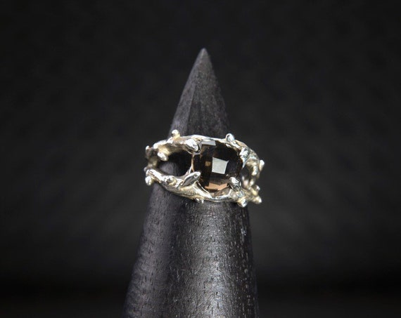 The Entwined - smokey quartz ring
