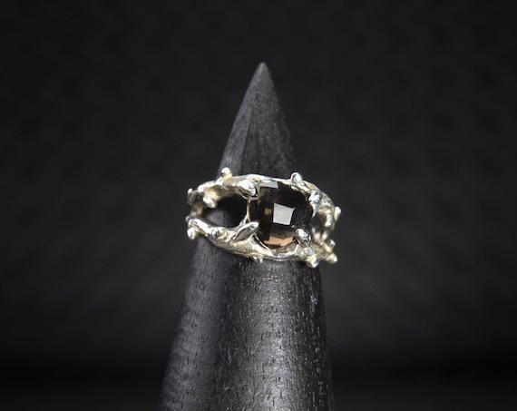 The Entwined - smokey quartz ring