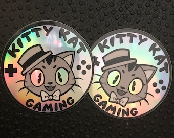 490e961a0672c Kitty kat gaming holographic stickers- 2 pack!