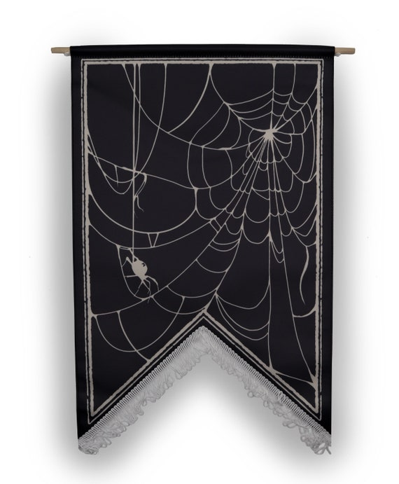 The spiders web- enamel pin display banner and wall hanging with fringe.