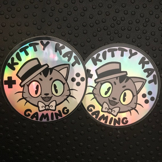 Kitty kat gaming holographic stickers- 2 pack!