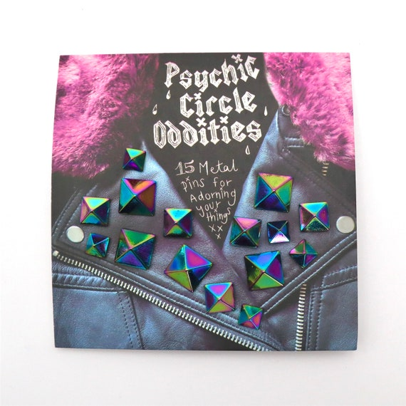 Rainbow colored metal pyramid stud pin set- 15 pieces! Great gift!