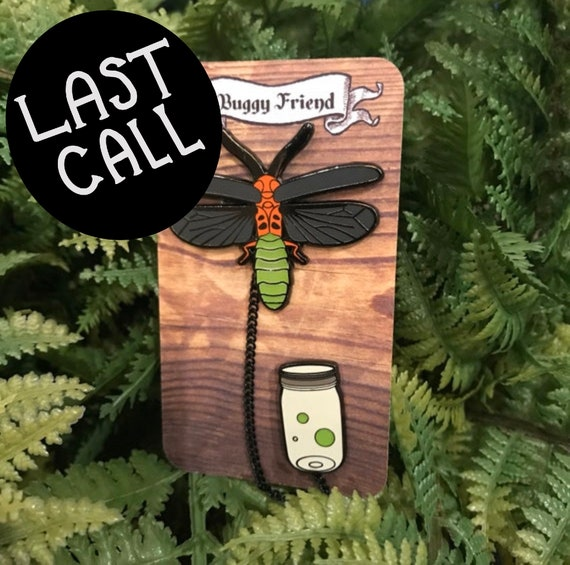 My pet bug- lightening bug enamel lapel pin set! Glow in the dark!!