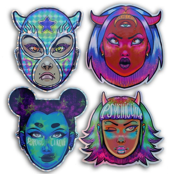 Demon days 4 piece holographic sticker set!