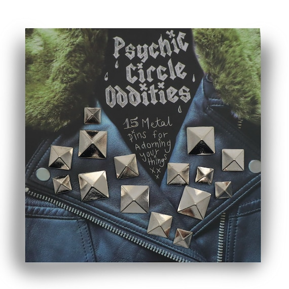Silver colored metal pyramid stud pin set- 15 pieces! Great gift!