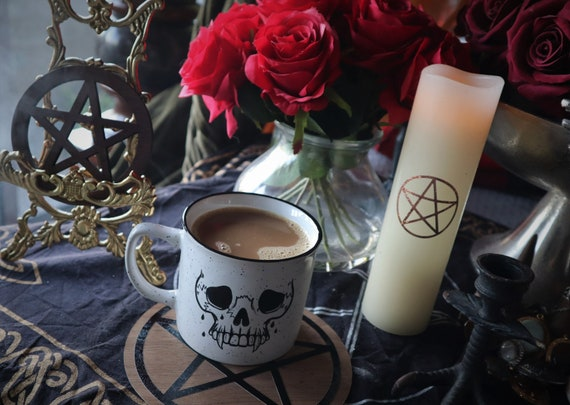 DEAD TIRED- skull mug! White and black Campfire mug!