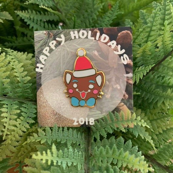 Happy holidays! Limited edition Gingerbread kkg cat holiday enamel pin!