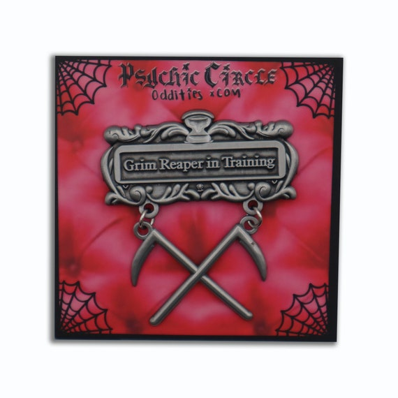 Grim reaper in training - 3D antique silver metal pin!