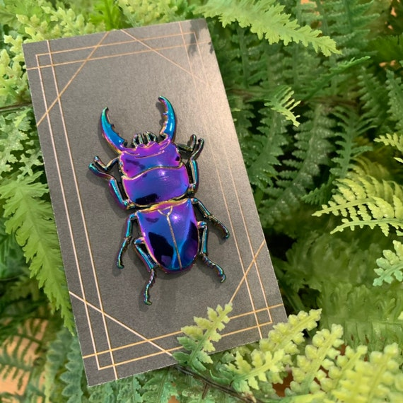 3D metal stag beetle rainbow oxide pin!