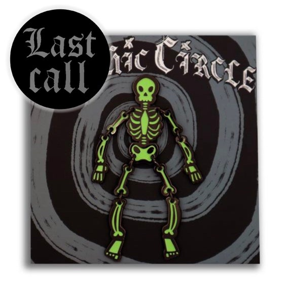LIMITED EDITION Jointed posable skeleton enamel pin- Glow in the dark green edition!