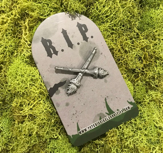 Upside down torches gravestone marking 3D metal pin - limited edition
