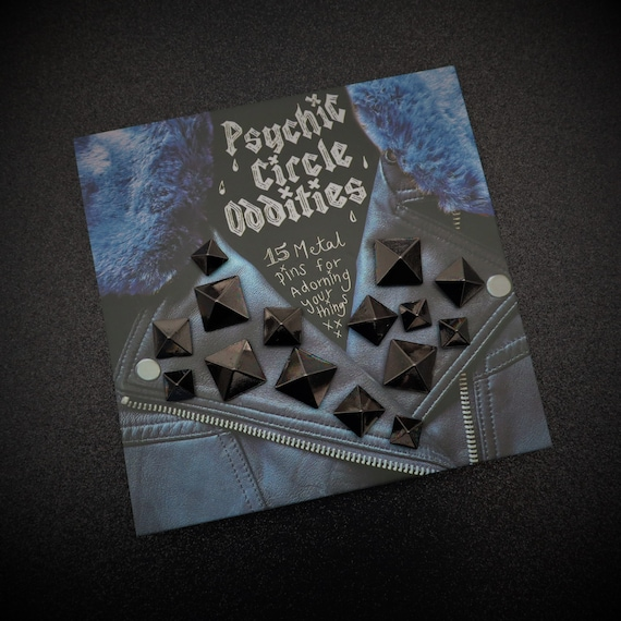 Black colored metal pyramid stud pin set- 15 pieces! Great gift!