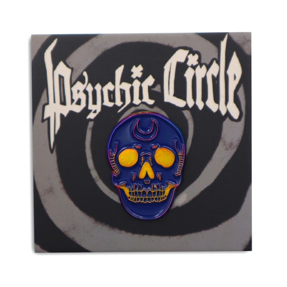 Mystic moon skull rainbow soft enamel pin