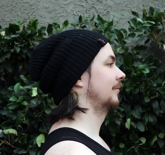 New Black Unisex distressed slouchy beanie hat