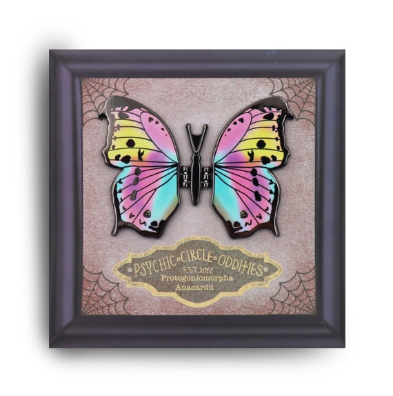 The clouded mother of pearl butterfly- moving wing enamel pin!