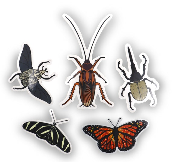 Buggy friends sticker set #3- 5 large holographic glitter and clear stickers! Cockroach prank!