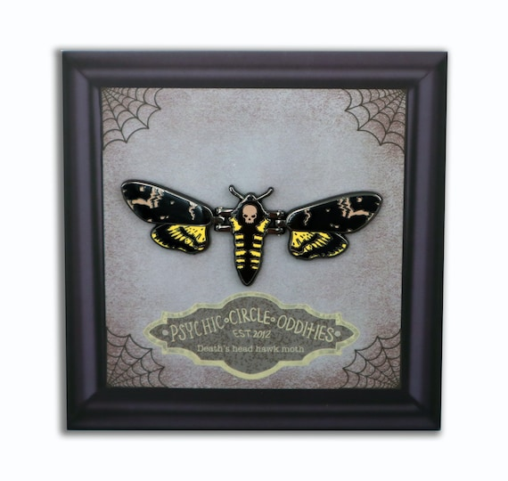 MOVING WINGS! Deaths head hawk moth hard enamel pin!