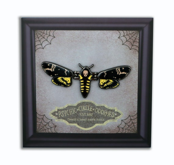 MOVING WINGS! Deaths head hawk moth hard enamel pin!