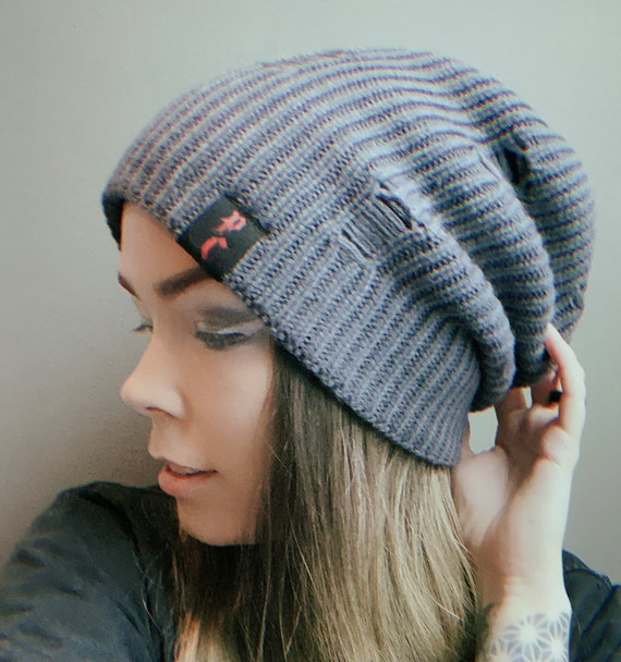 New GREY Unisex distressed slouchy beanie hat