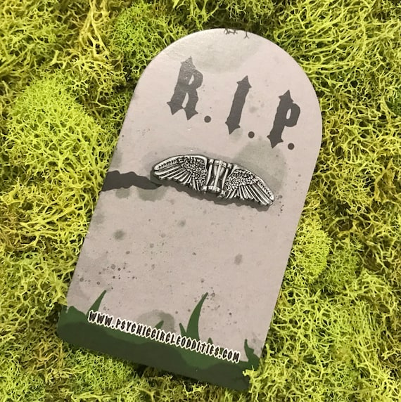 Flying hourglass gravestone marker 3D pin - limited edition