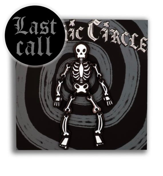 LIMITED EDITION Jointed posable skeleton enamel pin- Black and white edition!
