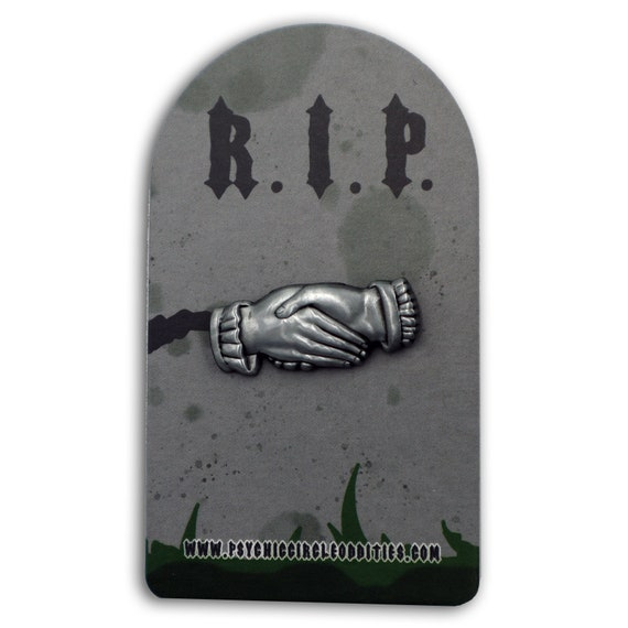 Clasped hands gravestone marking 3D metal pin- limited edition!