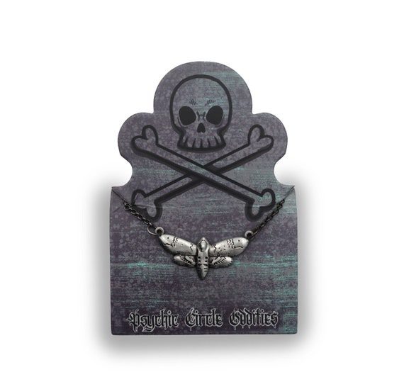 Deaths head hawk moth necklace with chain- great gift!