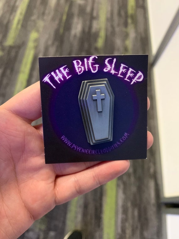 The big sleep- 3D metal pin - antique silver varient