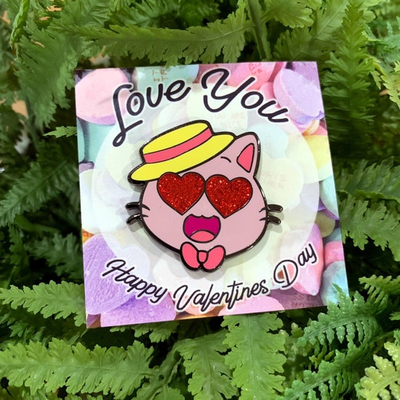 Limited edition Valentine's Day kitty kat gaming glitter enamel pin!