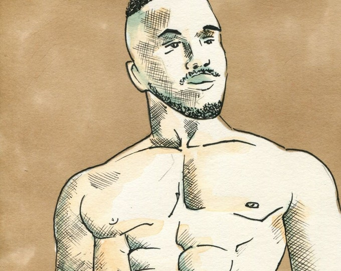 Original Ink Watercolor Drawing Painting Gay Man Male Nude