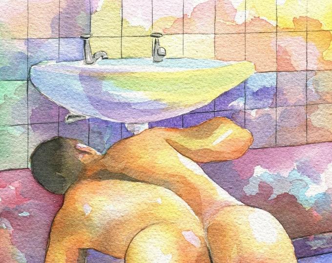 "PRINT of Original Art Work Watercolor Painting Gay Male Nude ""Plumber"""