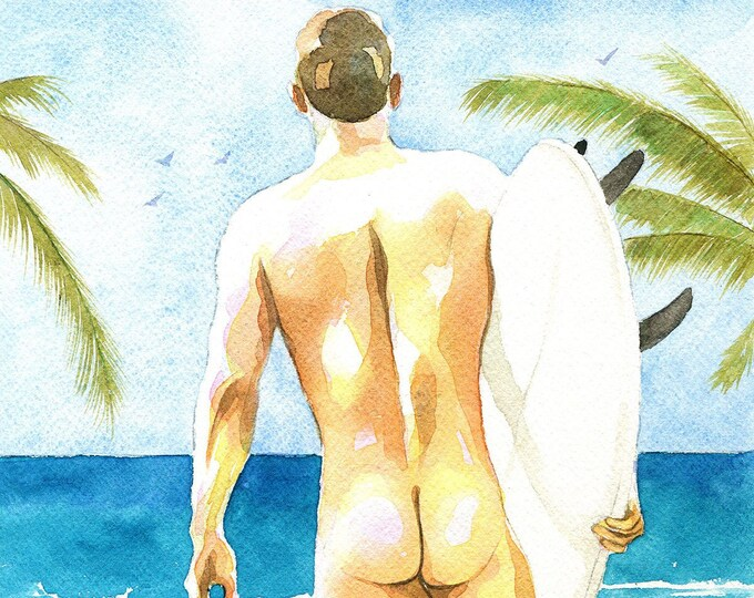 "PRINT of Original Art Work Watercolor Painting Gay Male Nude ""Surfer 3"""