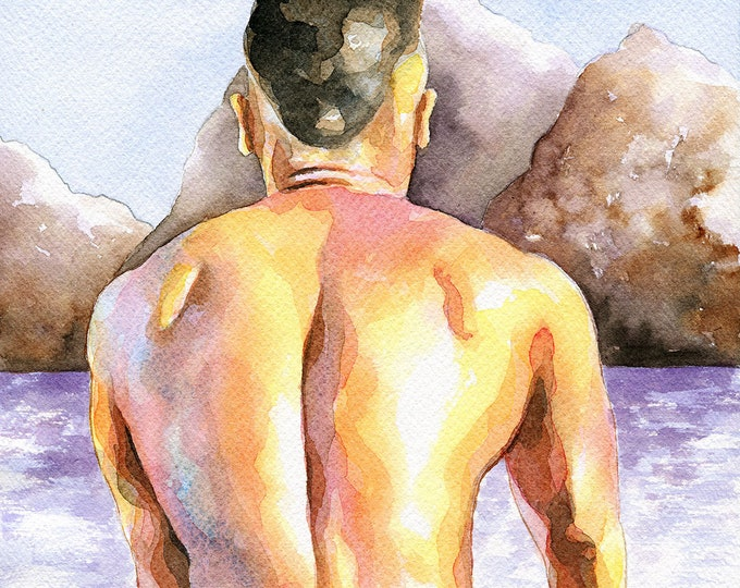 "Print of Original Artwork Watercolor Painting Erotic Male Man Nude Gay ""Cyclist"""