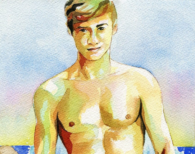 "PRINT of Original Art Work Watercolor Painting Gay Interest Male Nude ""By the water"""