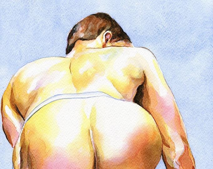 "PRINT of Original Art Work Watercolor Painting Gay Male Nude ""Hidden"""