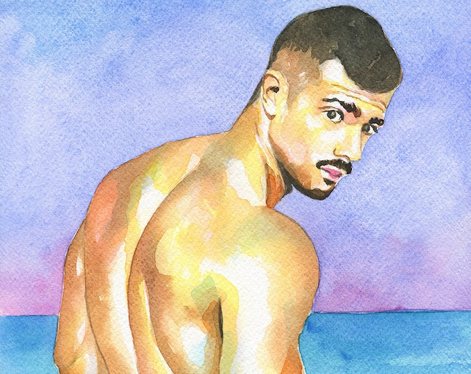 "PRINT Original Art Work Watercolor Painting Gay Male Nude ""Turquesa"""