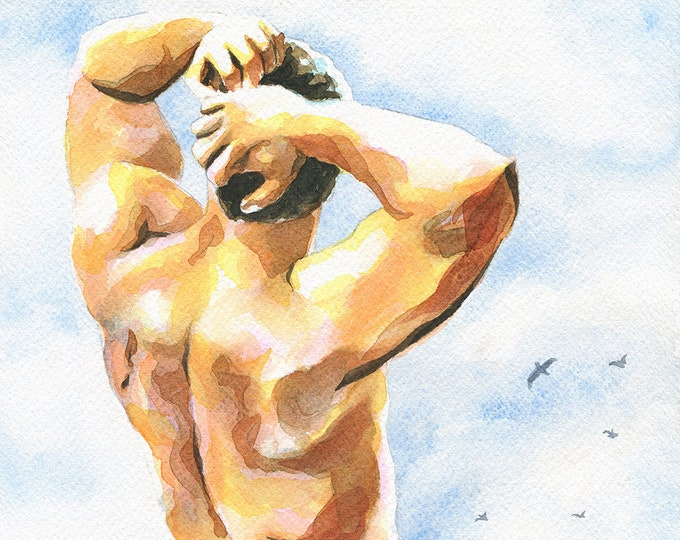 "Print of Original Artwork Watercolor Painting Erotic Male Man Nude Gay ""Deserted beach"""