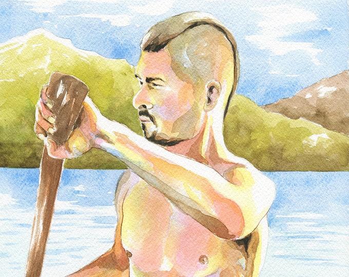 """Print of Original Artwork Watercolor Painting Erotic Male Man Nude Gay """"Boatman"""""""