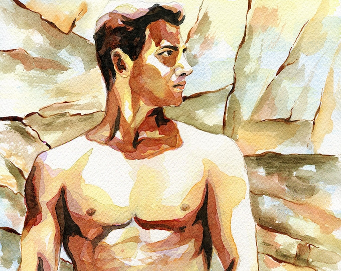 "Print of Original Artwork Watercolor Painting Erotic Male Man Nude Gay ""Rock and sand"""